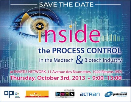 Save the date: Process Control in the Medtech & Biotech Industry – October 3rd, 2013