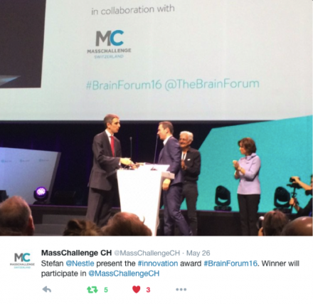The most Innovative start-up from the Brain Forum 2016 to join MassChallenge Switzerland acceleration program!