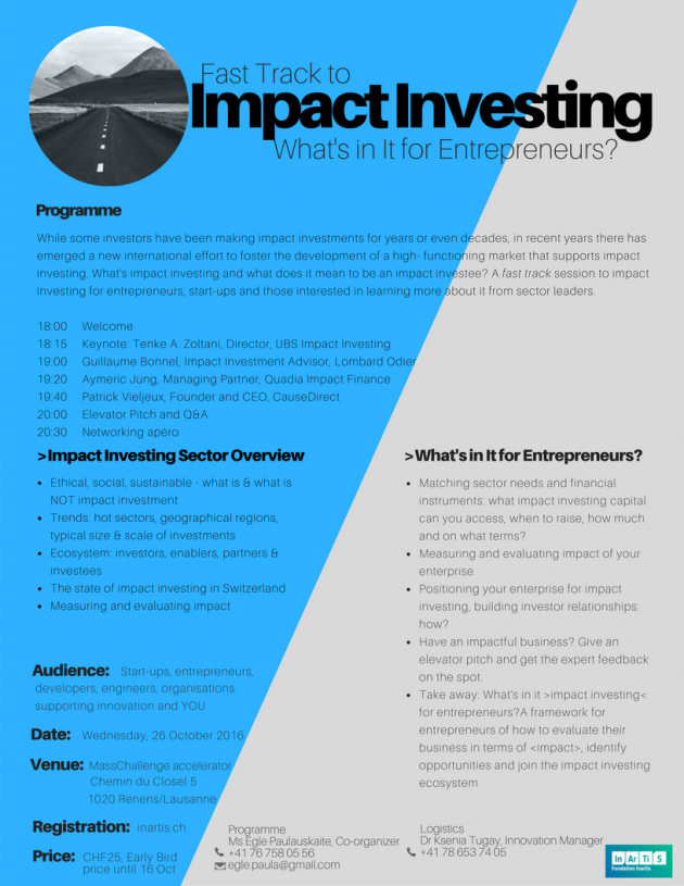 """Get your Early Bird ticket for """"Fast track to Impact Investing"""""""