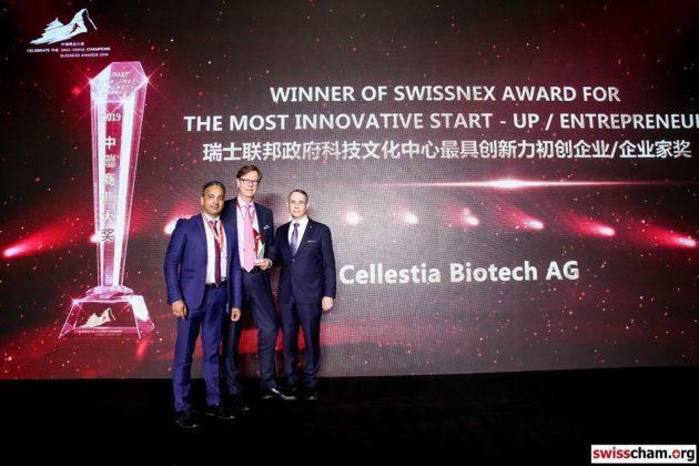 La start-up Cellestia Biotech récompensée au Sino-Swiss Business Awards à Pékin
