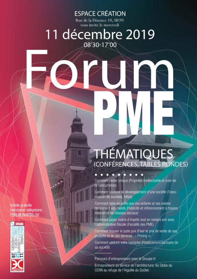 SAVE THE DATE: Mercredi 11 décembre 2019 – Forum PME, Espace Création, Sion